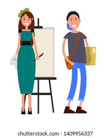Painter with two brushes and student brown briefcase color card. smiling woman teach to draw raster illustration