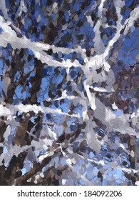 Painterly abstract of a common prank: Part of a tree festooned with toilet paper in a suburban neighborhood, loosely in the style of French impressionist Pierre-Auguste Renoir