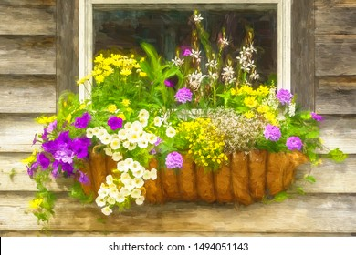 Painterly closeup of window box with variety of colorful flowers on shingled tool shed, with digital impasto effect, for themes of summer, gardening, arrangement