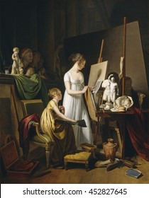 A Painter's Studio, by Louis-Leopold Boilly, 1800, French painting, oil on canvas. Domestic scene of a mother and child in art's studio