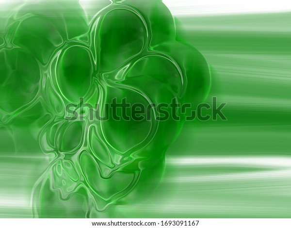tableau abstrait, goutte de liquide verte, sur fond peint à l'huile