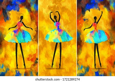 painting African girl ballerina dancing abstract figure. collection of designer oil paintings. Decoration for interior. Contemporary abstract art on canvas. A set of pictures with different texture.