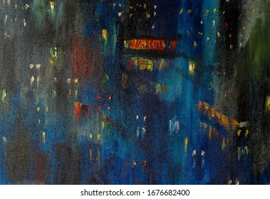 """Painting the artist's canvas. The painting is called the """"night city"""" of blue tone with the lights of the windows in the houses. Pastel Acrylic - photo of your project. Download with confidence"""