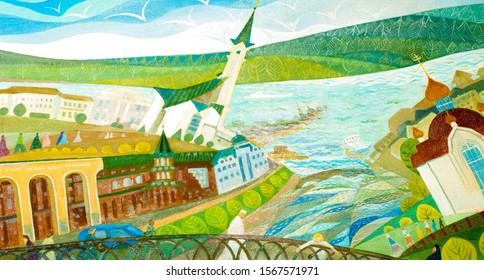 Painting the artist's canvas. City sketches. Orthodox temple, Mosque, river with a flooded city, a boy on a bridge, Old Town, people.