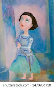 Painting the artist's canvas. a lady in knightly clothes with a sword, pastel colors, these are images for your project. Download with confidence