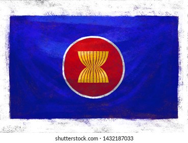 A PAINTING OF ASEAN FLAG