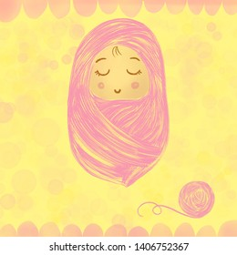 A painting baby is sleep in pink cloth with yarn ball over bokeh yellow background as card for new born baby
