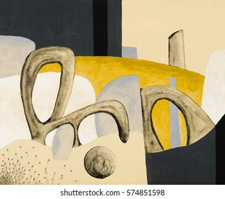 A painting with bizarre biomorphic shapes on a yellow background.