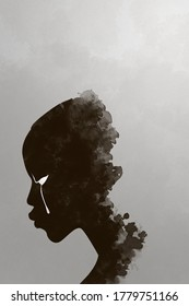 painting of black people with white tear, black people cry, monotone illustration. black lives matter banner poster campaign.