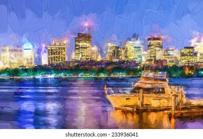 Painting of Boston pierskyline  with skyscrapers on Charles river