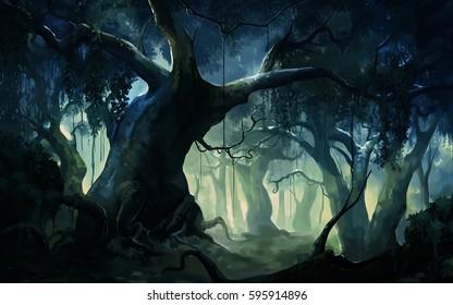 painting brush dense forest