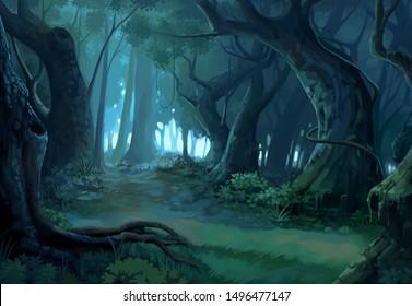 painting brush dense forest background