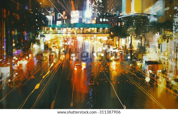 painting of car taillights on a city street at night