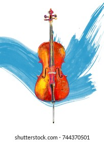 Painting of a cello against a blue paintbrush stroke