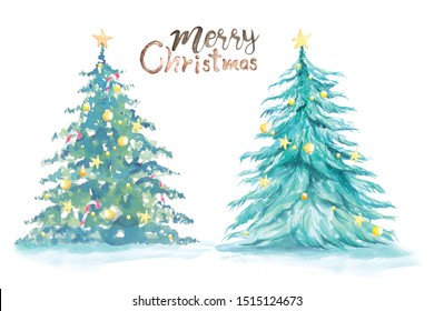 Painting Christmas tree with watercolor isolated on white background.Illustration of a pine forest in the snow-covered winter atmosphere.Conifer decorated with balls.