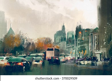 painting of city street view with traffic,Shanghai The Bund