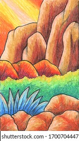 Painting cliffs and bushes using oil pastels