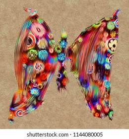 Painting of a colorful butterfly.