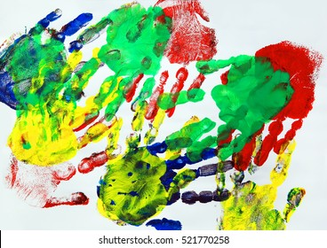 Painting with colorful kids hand prints