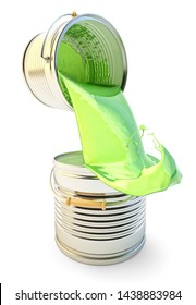 Painting concept, pouring out green paint from one can to another with overflow and paint splashes, isolated on white, 3d illustration