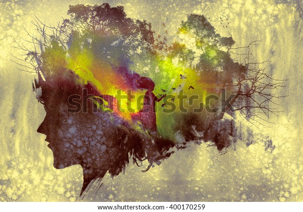 painting of double exposure concept with lady portrait silhouette and woman in forest