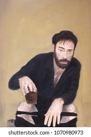 Painting of drunk man on toilet
