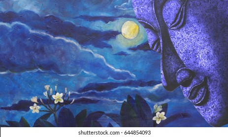 Painting   Face of buddha  illustration painting moon cloud and flower background