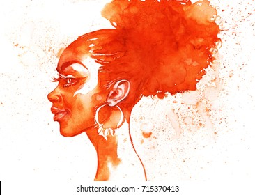 Painting fashion african woman portrait with splashes. Watercolor monochrome beauty illustration. Hand drawn profile of young girl