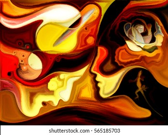 Painting of female and male profiles on the topic of romance, relationship and love.