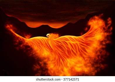 Painting of the fire bird phoenix from the ashes