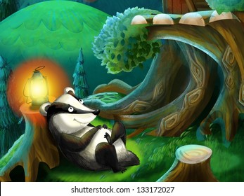 The painting of a forest animal - illustration for the children