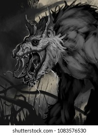 Painting of a frightening undead werewolf zombie creature - digital illustration