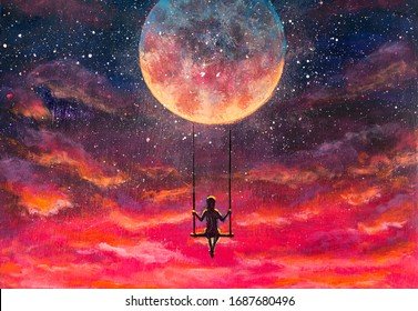 Painting Girl guy rides on swing in sky against background of beautiful purple pink sunset and starry sky. Romantic fantastic landscape for fairy tales or illustration for book.