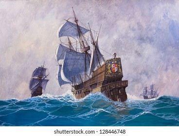 Painting. Gouache on paper. The painting was created in 2002. Shows a 17Th century sailing ship.