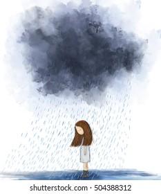 pintura de coração quebrado menina de pé sob nuvem cinza chuva. Ideia de tempestade, solitário, sozinho, triste, miserável, nublado, mal-humorado, dia chuvoso. Desenho gráfico papel de parede design modelo de fundo