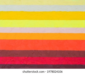 A painting with horizontal stripes in warm colors, roughly executed on a highly textured background.