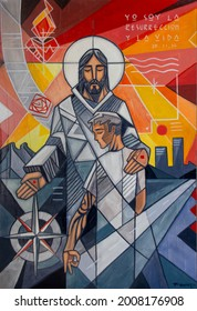 Painting or illustration of Jesus Christ and young man, with some symbols , cityscape and a pharse in spanish that means: I am the resurrection and the life