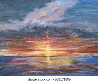 A painting, illustration of a sunset over the sea in Margate, Kent. The red, orange and golds of the setting sun are reflected in the sea.