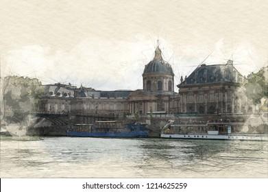 Painting of the Institut de France in Paris