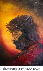 Painting of jesus christ before His death. JC. Symbol of salvation, love and peace. Son of God. He was crucified by people in Jerusalem. Israel. Oil Painting. Portrait.