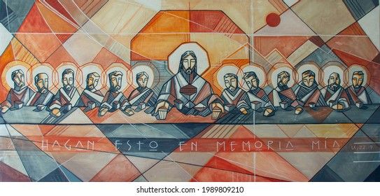 Painting of Jesus Christ and disciples at Last supper