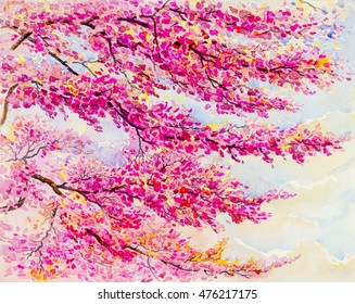 Painting  landscape watercolor original  colorful of wild  himalayan cherry on the beautyful mountain rang and emotion in blue sky background
