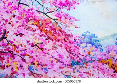 Painting  landscape watercolor original  colorful of wild  himalayan cherry on the beautyful mountain and emotion in blue sky background