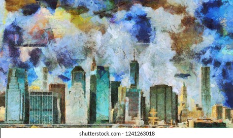 Painting. Manhattan Panorama. Muted pastel colors. 3D rendering