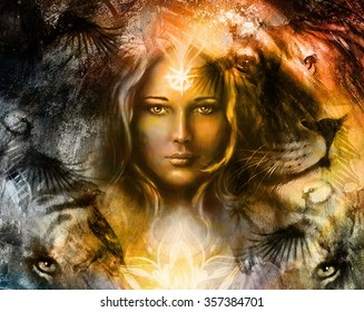painting mighty lion and tiger head, and mystic woman with ornamental tattoo on face with bird, ornament background and mandala. computer collage, profile portrait, eye contact