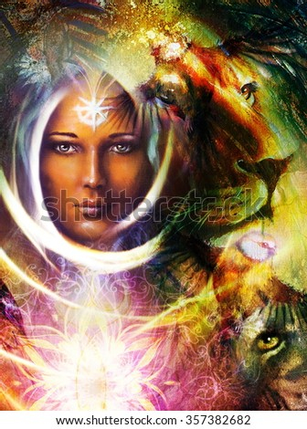 Painting Mighty Lion Tiger Head Mystic Stock Illustration 357382682