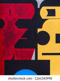 A painting; modernist abstract geometric structure. A strong and bold composition.