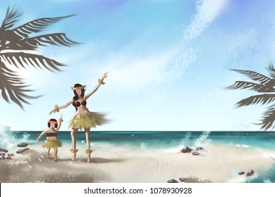 painting mother and daughter dancing on the beach.seascape background.mother day.