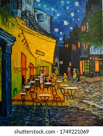 Painting oil on canvas. Free copy based on the famous painting by Vincent Van Gogh - Cafe Terrace on Forum Square, Arles, 1888.
