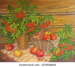 Painting oil still life mountain ash and apples on canvas. Original painting.